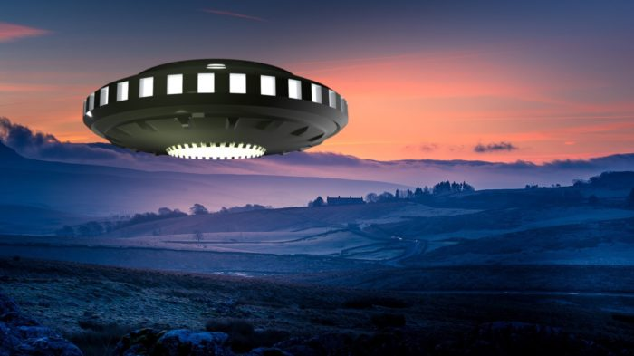 A depiction of a UFO hovering over a farm