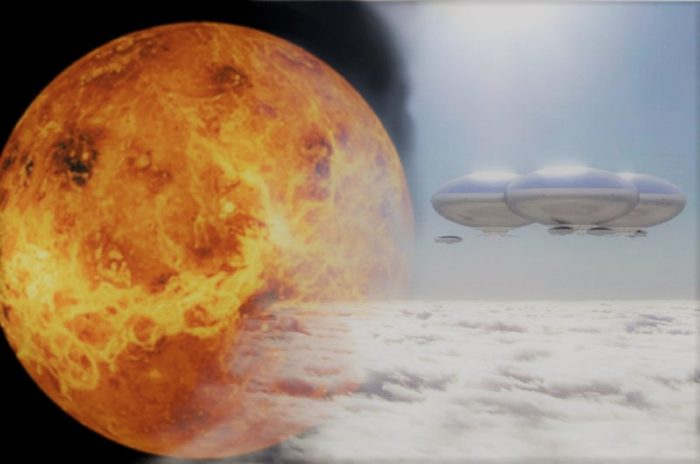 Venus blended into a depiction showing potential floating cloud cities