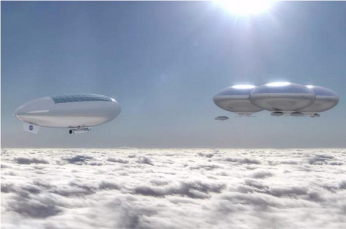 Artist's impression of floating cloud cities in the atmosphere of Venus