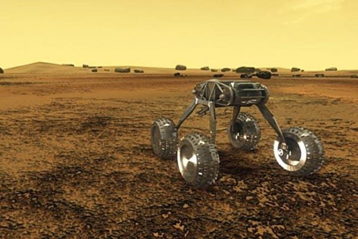 Artist's impression of a rover exploring the surface of Venus
