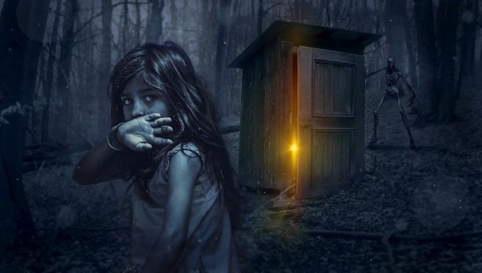 A mystical picture of girl with a lonely shed in the woods