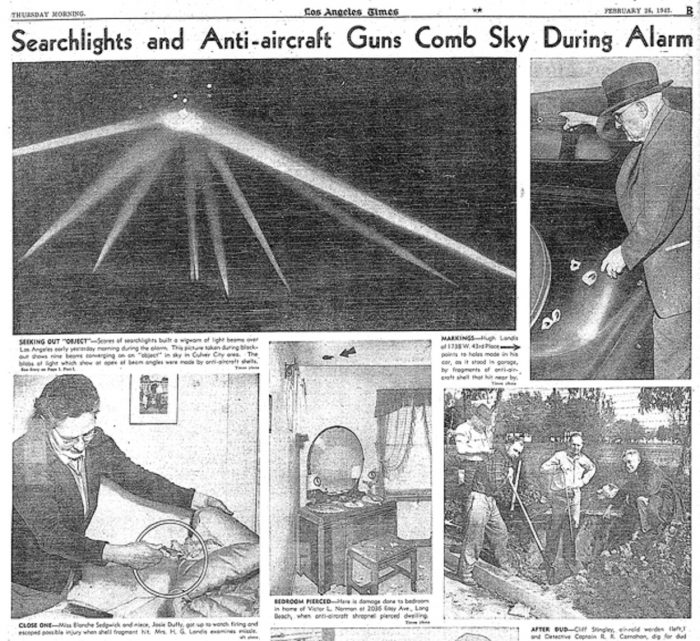 Newspaper article of the Battle of Los Angeles
