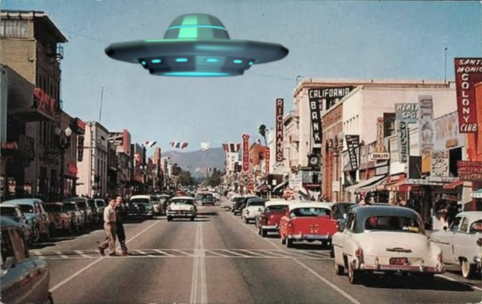 A depiction of a UFO over California