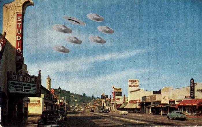 A depiction of a fleet of UFOs over California