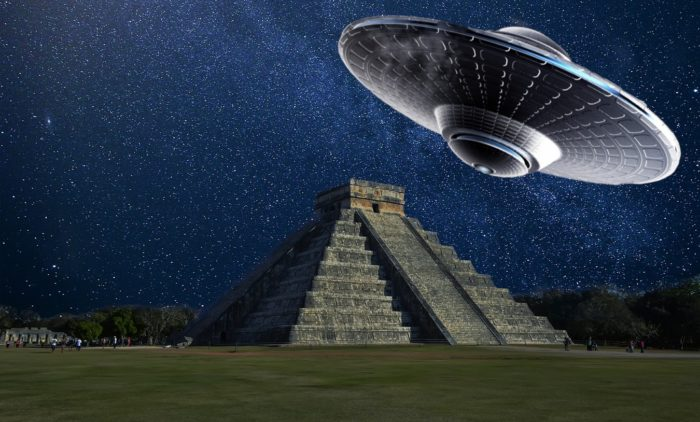 Depiction of a UFO over a Mayan pyramid