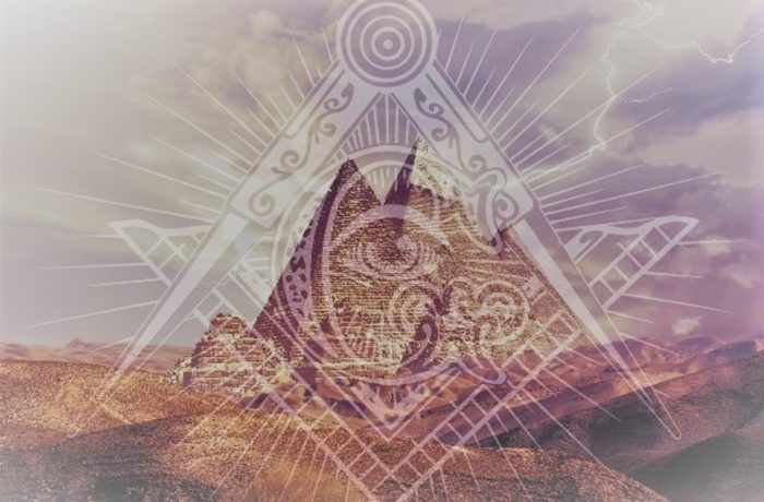 The Pyramids of Giza with superimposed Masonic symbols over the top