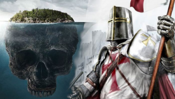 Depiction of Oak Island blended into a close-up of a Templar Knight