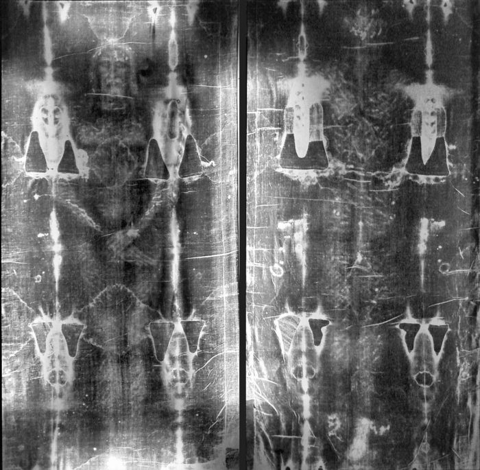 Both sides of the Turin Shroud at full length