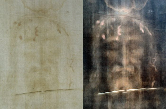 An image showing a normal and negative shot of the Turin Shroud