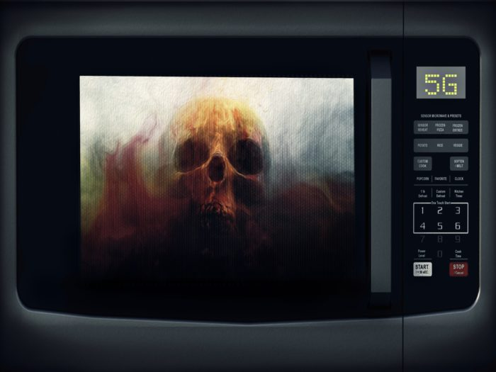 A depiction of a microwave with a skull inside