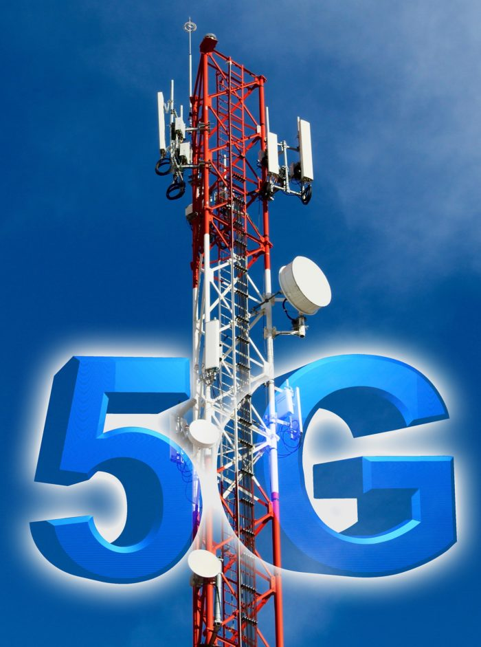 A telecommunications tower with the words 5G over the top