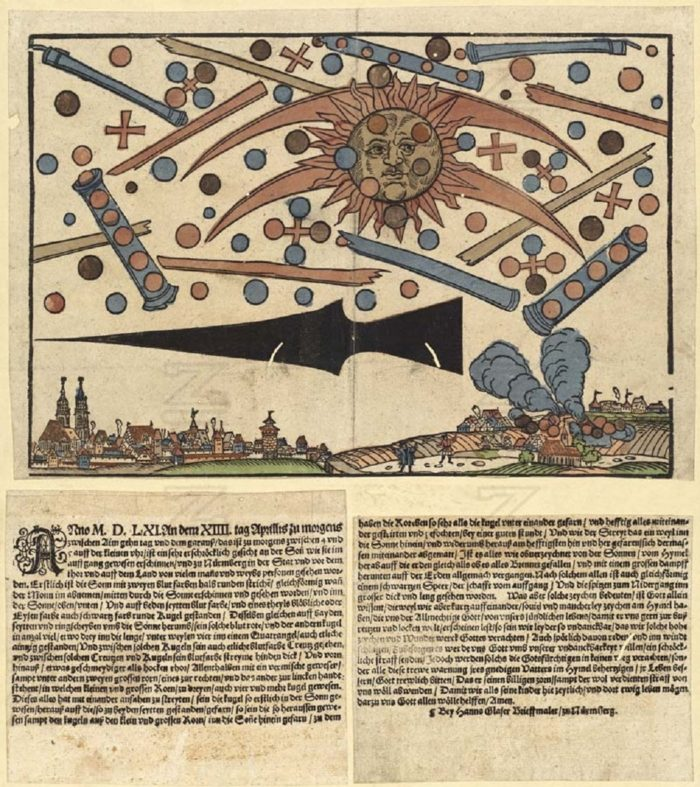 A depiction of the 1561 Nuremberg UFO incident