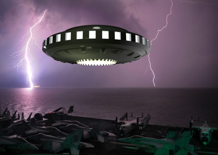 Depiction of a UFO hovering over an aircraft carrier