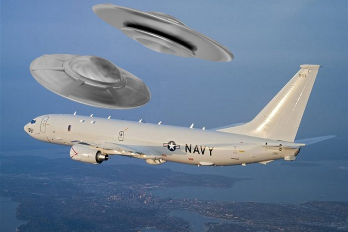A depiction of two UFOs flying near a military plane