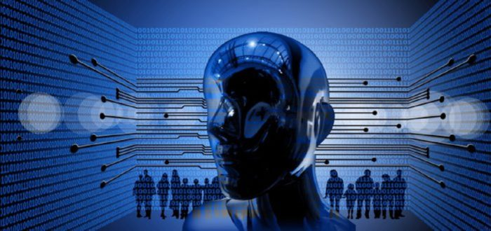 A computer programmed human head with black figures in the background