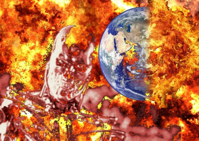 A Terminator-like robot superimposed over an exploding Earth