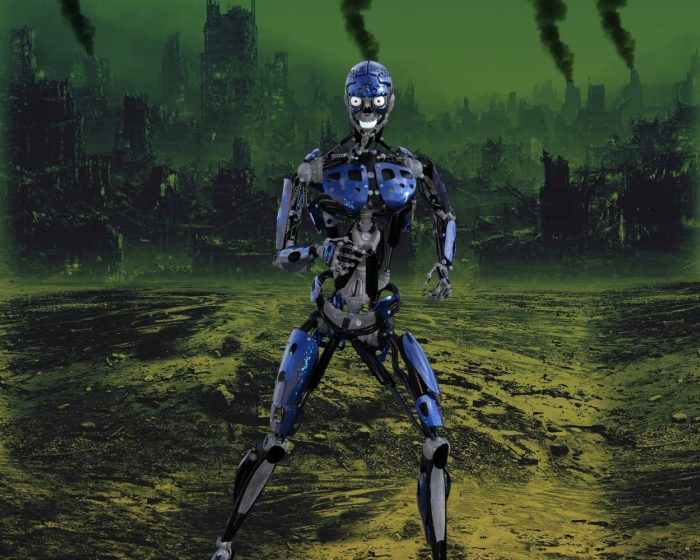 A depiction of robots following the end of the world with burnt-out city in the background