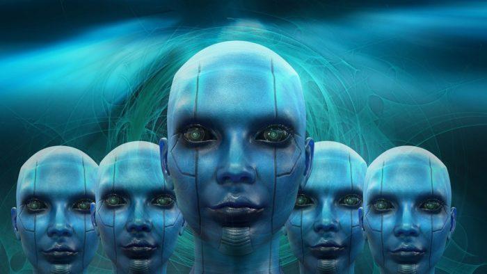 A row of humanoid robot heads