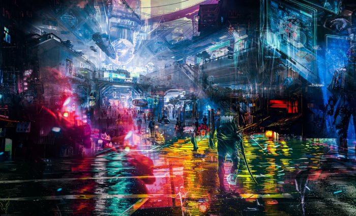 A depiction of a futuristic neon city