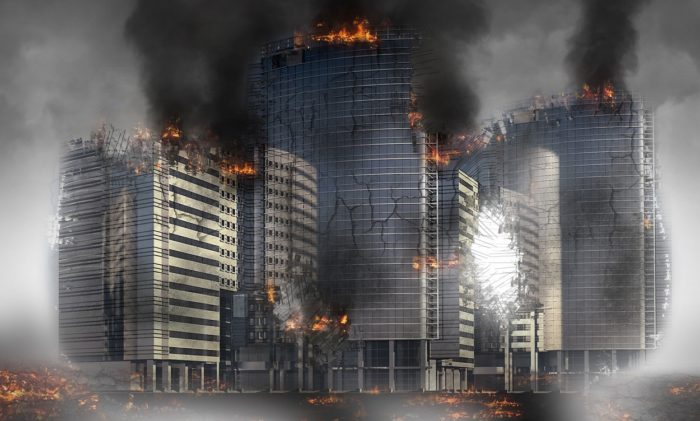 Depiction of a burnt-out war-torn city of the future