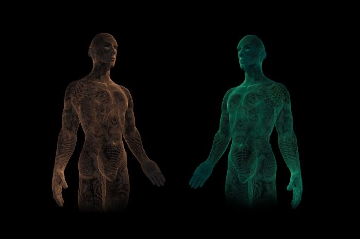 Two synthetic humans against a black background
