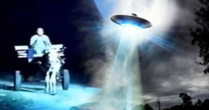 Television reproduction of the incident blended into an image of a UFO