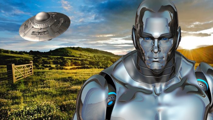 Cheshire Silver Man blended into a picture of a UFO over the countryside