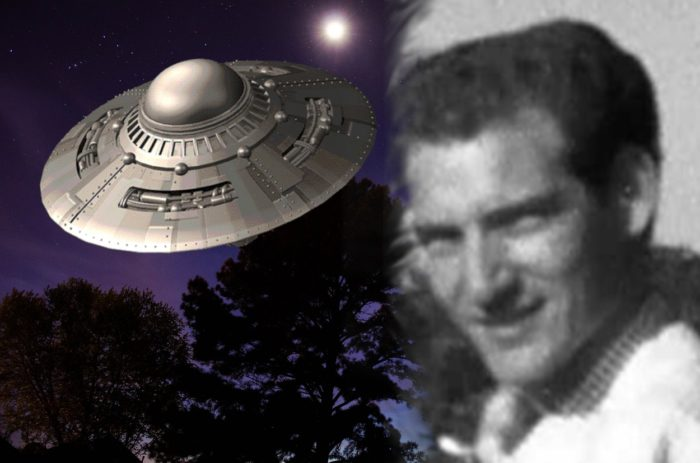Donald Schrum blended into an image of a UFO