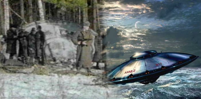 A depiction of a UFO crash in the Soviet Union