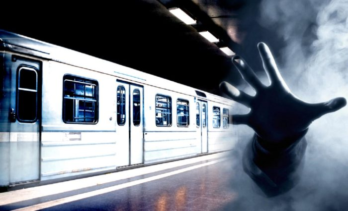 Picture of a train blending into a hand coming out of the mist