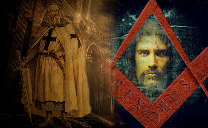 Picture of a Knights Templar blended into the cover of Rex Deus symbol