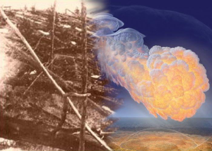 Artist's impression of a fireball exploding over Tunguska blended into ruined trees at Tunguska