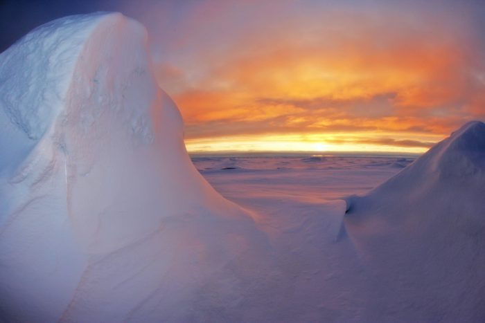 Antarctica in the sunset
