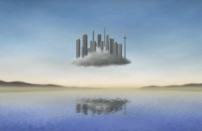 A depiction of a floating city over water