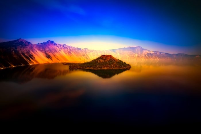 A view of Crater Lake at sunset