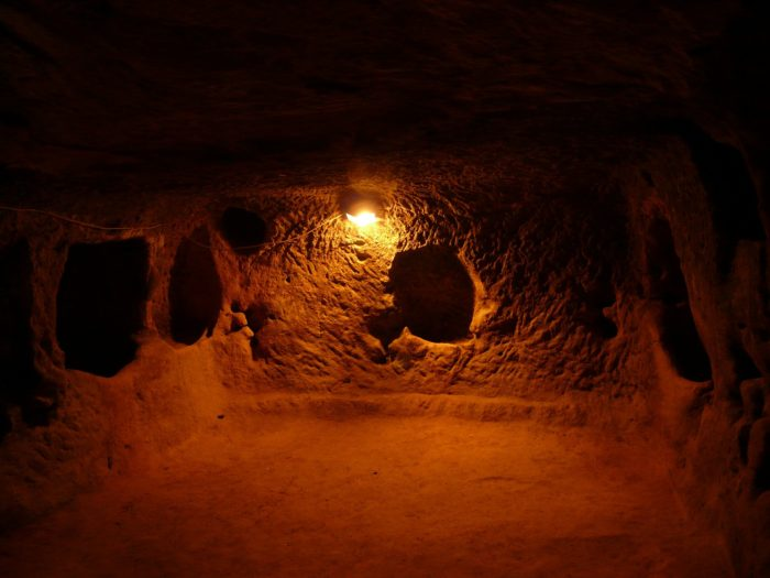 A picture of one of the rooms at the underground city of Derinkuyu
