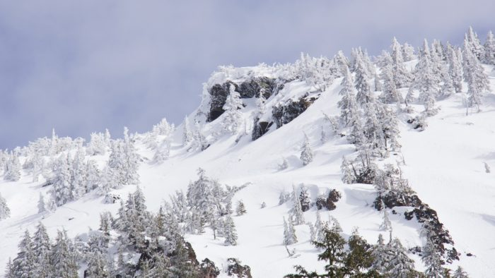 A view of a snowy mountain top