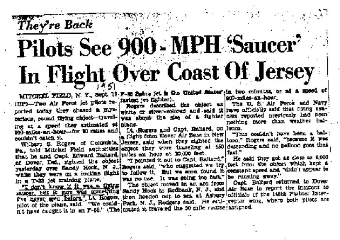 Newspaper report of the Fort Monmouth UFO