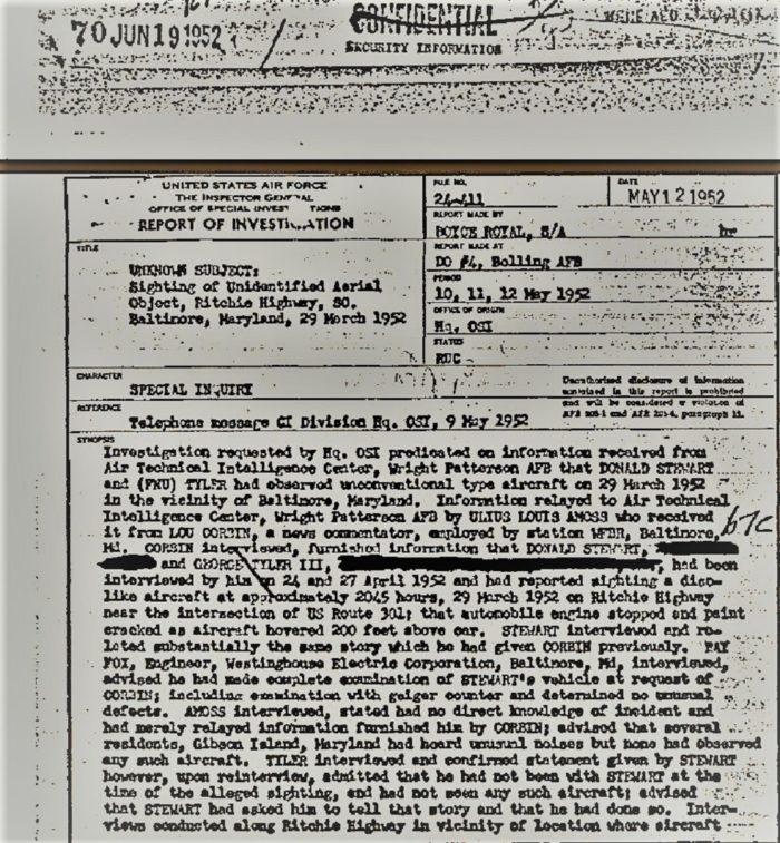 Page from the official report of the Fort Monmouth UFO