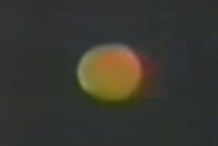A picture of an apparent UFO overhead