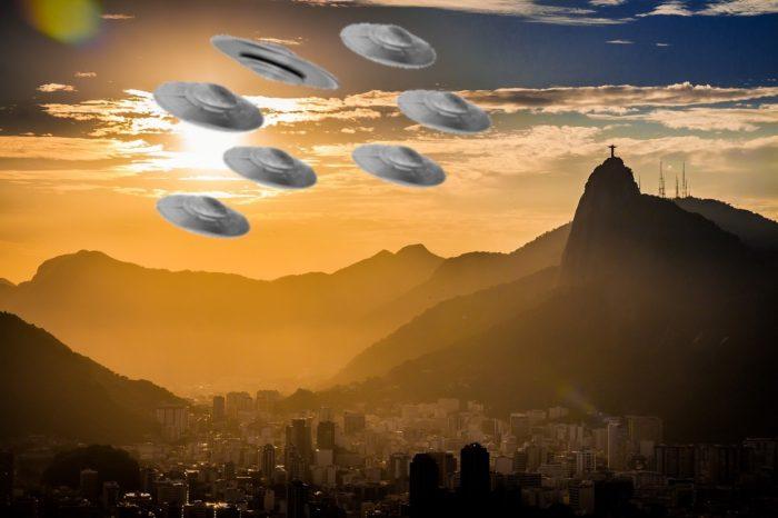 A depiction of a fleet of UFOs over Brazil