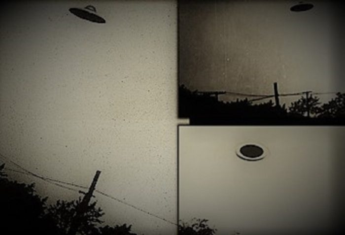 Pictures by George Stork of apparent UFOs