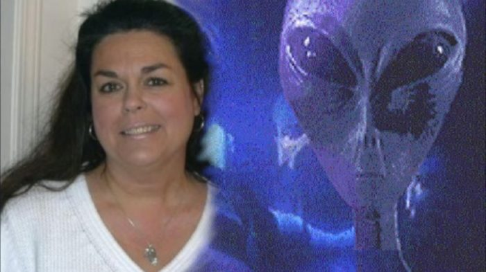 Corina Saebels blended into an image of an alien entity