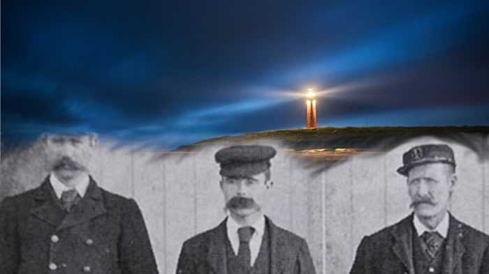 The three missing lighthouse keepers blended into a picture of a lighthouse