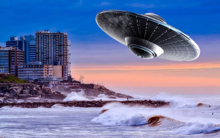 A superimposed UFO on a coastal city