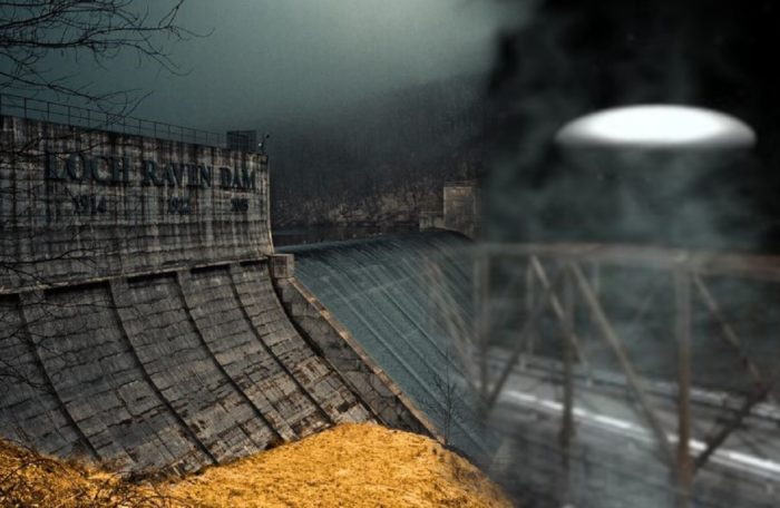 A depiction of a UFO blended into an image of Loch Raven Dam