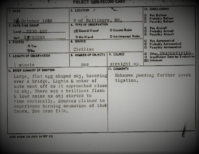 A page from the official report of the UFO sighting