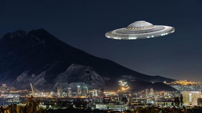 Superimposed UFO over the Las Mitres Mountains
