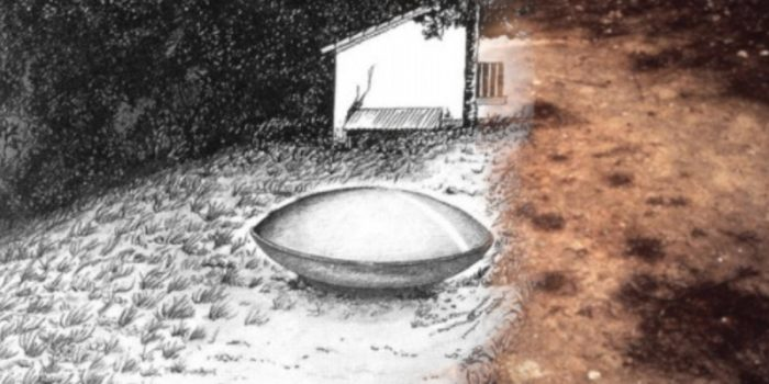 A sketch of the Trans-en-Provence UFO blended into a picture of the markings on the ground