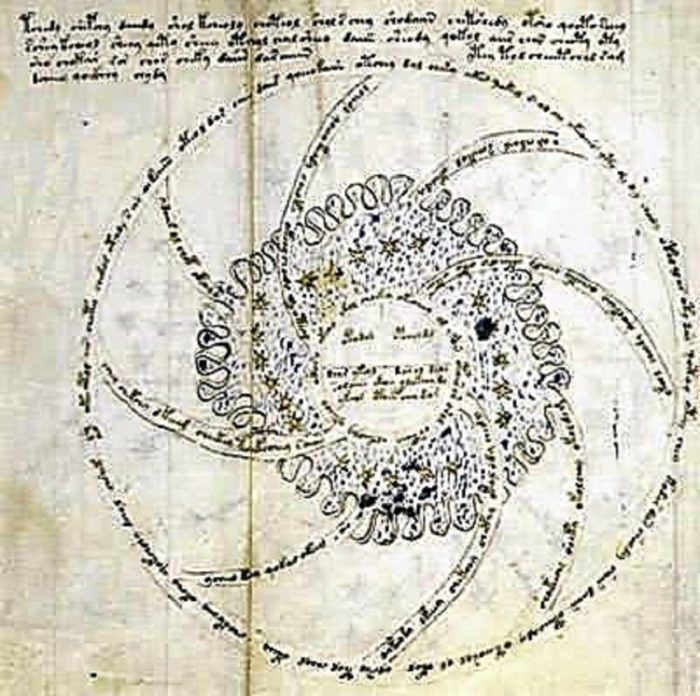 Close-up of the Voynich Andromeda page